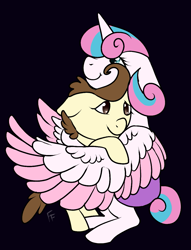 Size: 883x1153 | Tagged: safe, artist:ponykittenboi, pound cake, princess flurry heart, alicorn, pegasus, pony, baby, baby pony, black background, colored, colt, cuddling, female, filly, flat colors, foal, hug, male, poundflurry, shipping, simple background, straight, wings