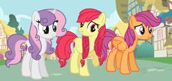 Size: 1163x555   Tagged: safe, artist:wispyaxolotl, apple bloom, scootaloo, sweetie belle, earth pony, pegasus, unicorn, cutie mark crusaders, older, older apple bloom, older scootaloo, older sweetie belle, ponyville, trio