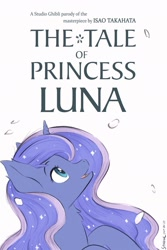 Size: 1024x1536   Tagged: safe, artist:symbianl, princess luna, alicorn, pony, crossover, cute, ear fluff, female, lunabetes, mare, neck fluff, parody, profile, simple background, solo, studio ghibli, the tale of princess kaguya, white background