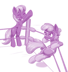 Size: 1280x1361 | Tagged: safe, artist:dstears, idw, cheerilee, cherry blossom (idw), earth pony, pony, digital art, female, flower, flower blossom, mare, monochrome, siblings, sisters, sports, twins, wrestling, wrestling ring