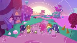 Size: 1920x1080   Tagged: safe, screencap, applejack, fluttershy, pinkie pie, rainbow dash, rarity, twilight sparkle, alicorn, earth pony, pegasus, pony, unicorn, cute-pocalypse meow, my little pony: pony life, pony life, butt, female, mane six, mare, plot, ponyville, sugarcube corner, twilight sparkle (alicorn)