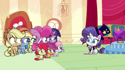 Size: 1920x1080 | Tagged: safe, screencap, apple bloom, applejack, fluttershy, pinkie pie, rainbow dash, rarity, scootaloo, sweetie belle, twilight sparkle, alicorn, earth pony, pegasus, pony, unicorn, disappearing act, my little pony: pony life, spoiler:pony life s01e12, cutie mark crusaders, female, filly, hat, magician, magician outfit, magician rarity, mare, missing cutie mark, top hat, twilight sparkle (alicorn)