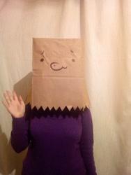 Size: 1536x2048   Tagged: safe, artist:paperbagpony, oc, oc:paper bag, human, irl, irl human, paper bag, photo