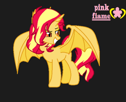 Size: 534x434   Tagged: safe, artist:pink flame, sunset shimmer, bat pony, bat ponified, race swap, shimmerbat