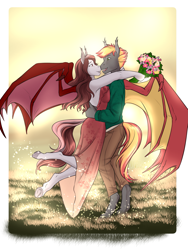 Size: 2865x3801 | Tagged: safe, artist:blackblood-queen, oc, oc only, oc:savory zest, oc:scarlet quill, anthro, bat pony, unguligrade anthro, anniversary, anthro oc, backless, backlighting, bat pony oc, bat wings, clothes, commission, couple, cute, cute little fangs, digital art, dress, ear fluff, embrace, fangs, female, flower, green eyes, husband and wife, male, mare, married, married couple, nose to nose, oc x oc, pants, red eyes, scarlory, shipping, slit eyes, smiling, straight, wings