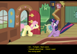 Size: 1024x714 | Tagged: safe, artist:trotsworth, fluttershy, twilight sparkle, pegasus, pony, unicorn, comic:wrong spell, butterscotch, meme origin, rule 63, unicorn twilight