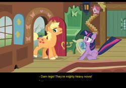 Size: 1024x714 | Tagged: safe, artist:trotsworth, applejack, twilight sparkle, earth pony, unicorn, comic:wrong spell, applejack (male), rule 63, shocked, unicorn twilight