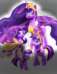 Size: 2550x3300 | Tagged: safe, artist:jac59col, twilight sparkle, alicorn, pony, unicorn, the last problem, age progression, big crown thingy, big crown thingy 2.0, clothes, coronation dress, dress, element of magic, female, filly, filly twilight sparkle, jewelry, mare, multeity, older, older twilight, princess twilight 2.0, regalia, self ponidox, sparkle sparkle sparkle, time paradox, twilight sparkle (alicorn), unicorn twilight, wip, younger