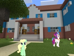 Size: 2048x1536 | Tagged: safe, artist:90sigma, artist:topsangtheman, apple honey, apple tarty, queen novo, classical hippogriff, earth pony, hippogriff, pony, my little pony: the movie, apple family member, house, looking at you, minecraft, photoshopped into minecraft, tree