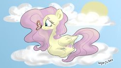 Size: 1920x1080 | Tagged: safe, artist:hatperson56, fluttershy, butterfly, pegasus, pony, blush sticker, blushing, butterfly on nose, cloud, ear fluff, female, folded wings, insect on nose, looking at something, mare, on a cloud, outdoors, profile, prone, sky, smiling, solo, sun, wallpaper, wings