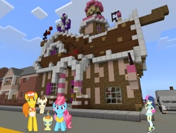 Size: 2048x1536 | Tagged: safe, artist:punzil504, artist:razethebeast, artist:topsangtheman, bon bon, carrot cake, cup cake, pound cake, pumpkin cake, sweetie drops, earth pony, pegasus, pony, unicorn, equestria girls, looking at you, minecraft, photoshopped into minecraft, sugarcube corner, truck