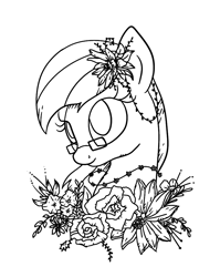 Size: 768x964 | Tagged: safe, artist:sjart117, oc, oc only, oc:miles bright, earth pony, pony, black and white, bust, female, floral head wreath, flower, flower in hair, flower necklace, gift art, glasses, grayscale, lineart, mare, monochrome, portrait, simple, smiling, solo, vine
