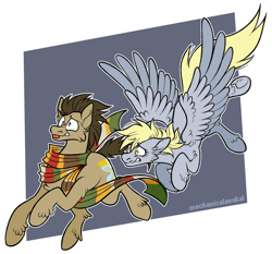 Size: 1500x1400 | Tagged: safe, artist:mechanicalanakal, derpy hooves, doctor whooves, time turner, pony, fourth doctor's scarf