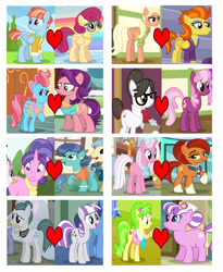 Size: 3018x3688 | Tagged: safe, cheerilee, chickadee, clear sky, cloudy quartz, cookie crumbles, cup cake, mane allgood, mrs. paleo, ms. peachbottom, nurse sweetheart, posey shy, spoiled rich, stellar flare, stormy flare, twilight velvet, windy whistles, writing desk, cheeridesk, cloudyvelvet, cookipaleo, female, heart, infidelity, lesbian, maneflare, peachheart, shipping, shipping chart, shipping domino, spoiledcake, stellarsky, windyshy