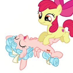 Size: 512x512   Tagged: safe, artist:princessdestiny200i, apple bloom, cozy glow, earth pony, pegasus, pony, adorabloom, apple bloom's bow, bow, cozybetes, cute, female, filly, hair bow, open mouth, simple background, tickle torture, tickling, white background