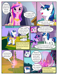 Size: 612x792 | Tagged: safe, artist:newbiespud, edit, edited screencap, screencap, princess cadance, rarity, shining armor, twilight sparkle, alicorn, pony, unicorn, comic:friendship is dragons, a canterlot wedding, barrier, canterlot, castle, comic, dialogue, eyes closed, female, filly, filly twilight sparkle, hoof shoes, jewelry, male, mare, open mouth, screencap comic, smiling, stallion, tiara, unicorn twilight, unshorn fetlocks, younger