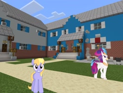 Size: 2048x1536 | Tagged: safe, artist:topsangtheman, cloud kicker, queen novo, classical hippogriff, hippogriff, pegasus, pony, my little pony: the movie, house, looking at you, minecraft, photoshopped into minecraft
