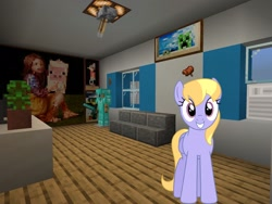 Size: 2048x1536 | Tagged: safe, artist:bluemeganium, artist:topsangtheman, cloud kicker, pegasus, pony, house, interior, living room, looking at you, minecraft, photoshopped into minecraft