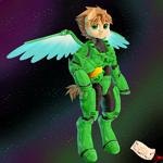 Size: 5500x5500 | Tagged: safe, artist:alejandraarelycc, artist:tonystorm12, oc, oc only, oc:inky stylus, pegasus, pony, absurd resolution, armor, cute, fanart, fanfic art, halo (series), halo 4, male, master chief, painting, pegasus oc, power armor, precious, wings