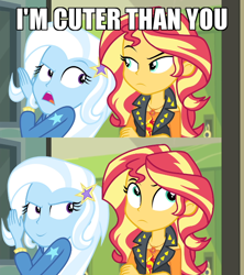 Size: 640x720 | Tagged: safe, edit, edited screencap, screencap, sunset shimmer, trixie, equestria girls, equestria girls series, forgotten friendship, caption, comic, ego, frown, image macro, meme, narcissism, screencap comic, smiling, smirk, sunset shimmer is not amused, text, trixie yells at everything, unamused