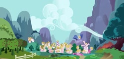 Size: 1440x690 | Tagged: safe, background, cloud, mountain, no pony, ponyville, scenery