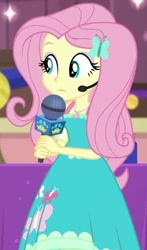 Size: 349x595 | Tagged: safe, screencap, fluttershy, best in show: the victory lap, equestria girls, equestria girls series, spoiler:eqg series (season 2), clothes, cropped, cute, dress, geode of fauna, headworn microphone, lidded eyes, magical geodes, microphone, shyabetes