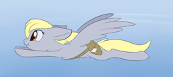 Size: 2148x956 | Tagged: safe, artist:dusthiel, derpy hooves, pegasus, pony, atg 2020, cheek fluff, chest fluff, cute, derpabetes, fast, female, flying, leg fluff, mare, newbie artist training grounds, profile, solo, spread wings, wings