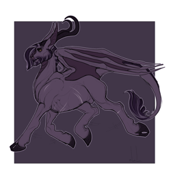 Size: 1000x1000 | Tagged: safe, artist:snowberry, oc, oc only, oc:adastros aureum, bat pony, original species, pony, bat wings, beard, cloven hooves, facial hair, horns, leonine tail, male, scar, simple background, stallion, trotting, wings