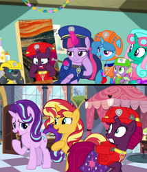 Size: 1080x1259 | Tagged: safe, artist:徐詩珮, fizzlepop berrytwist, glitter drops, grubber, spike, spring rain, starlight glimmer, sunset shimmer, tempest shadow, twilight sparkle, alicorn, unicorn, series:sprglitemplight diary, series:sprglitemplight life jacket days, series:springshadowdrops diary, series:springshadowdrops life jacket days, my little pony: the movie, alternate universe, bisexual, broken horn, chase (paw patrol), clothes, cute, female, glitterbetes, glitterlight, glittershadow, horn, lesbian, lifeguard, lifeguard spring rain, marshall (paw patrol), paw patrol, polyamory, rocky (paw patrol), rubble (paw patrol), shipping, skye (paw patrol), sprglitemplight, springbetes, springdrops, springlight, springshadow, springshadowdrops, tempestbetes, tempestlight, twilight sparkle (alicorn), zuma (paw patrol)