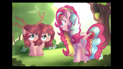 Size: 2208x1242   Tagged: safe, artist:sir art, pinkie pie, oc, oc:cup and cake, earth pony, pony, colored pupils, conjoined, conjoined twins, crying, female, filly, frown, lidded eyes, looking up, mare, mother and child, mother and daughter, next generation, offspring, open mouth, parent:cheese sandwich, parent:pinkie pie, parents:cheesepie, rainbow power, raised hoof, sad, smiling, twins