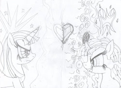 Size: 2457x1785 | Tagged: safe, alternate version, artist:drdesasstrah, twilight sparkle, alicorn, unicorn, alternate character interpretation, alternate dimension, alternate history, alternate reality, alternate scenario, alternate timeline, alternate universe, colored horn, corrupted, corrupted crystal heart, corrupted twilight sparkle, crystal heart, curved horn, dark, dark equestria, dark magic, dark queen, dark twilight, dark twilight sparkle, dark world, darklight, darklight sparkle, duo, evil twilight, female, glowing horn, horn, magic, messy hair, messy mane, messy tail, queen twilight, sombra empire, sombra eyes, sombra horn, traditional art, twilight sparkle (alicorn), two sides, tyrant sparkle, unicorn twilight, wavy hair, wavy mane, wavy tail