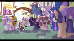 Size: 2208x1242 | Tagged: safe, artist:sir art, twilight sparkle, oc, oc:cup and cake, oc:heart wings, oc:honey apple, oc:ruby spice, oc:shooting galaxy, oc:thunderclap, oc:wildlife, alicorn, dracony, earth pony, hybrid, pegasus, pony, unicorn, the last problem, conjoined, conjoined twins, face mask, female, interspecies offspring, next generation, offspring, parent:applejack, parent:caramel, parent:cheese sandwich, parent:discord, parent:flash sentry, parent:fluttershy, parent:pinkie pie, parent:rainbow dash, parent:rarity, parent:soarin', parent:spike, parent:twilight sparkle, parents:carajack, parents:cheesepie, parents:discoshy, parents:flashlight, parents:soarindash, parents:sparity, princess twilight 2.0, twilight sparkle (alicorn), yoke
