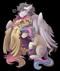 Size: 1900x2250   Tagged: safe, artist:kikirdcz, oc, oc:lightning strike, oc:sunrise skies, oc:supernova, pegasus, pony, unicorn, female, group hug, hug, male, mare, simple background, stallion, transparent background