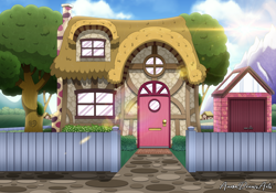 Size: 3000x2100 | Tagged: safe, artist:aarondrawsarts, architecture, background, building, carving, house, no pony, shed, tree