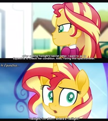 Size: 3120x3510 | Tagged: safe, artist:aryatheeditor, sunset shimmer, human, pony, unicorn, equestria girls, canterlot high, comic, confused, equestria girls ponified, female, geode of empathy, magical geodes, mare, mirror, movie reference, outfit, portal, side view, solo, subtitles