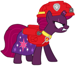 Size: 1161x1020 | Tagged: safe, artist:徐詩珮, fizzlepop berrytwist, tempest shadow, pony, unicorn, series:sprglitemplight diary, series:sprglitemplight life jacket days, series:springshadowdrops diary, series:springshadowdrops life jacket days, alternate universe, angry, clothes, cute, marshall (paw patrol), paw patrol, simple background, transparent background
