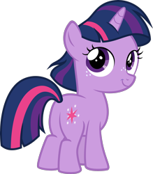 Size: 3000x3431 | Tagged: safe, artist:slb94, twilight sparkle, pony, unicorn, alternate hairstyle, female, filly, filly twilight sparkle, freckles, grin, looking back, simple background, smiling, solo, transparent background, vector, younger