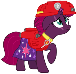 Size: 1078x1044 | Tagged: safe, artist:徐詩珮, fizzlepop berrytwist, tempest shadow, pony, unicorn, series:sprglitemplight diary, series:sprglitemplight life jacket days, series:springshadowdrops diary, series:springshadowdrops life jacket days, alternate universe, clothes, cute, marshall (paw patrol), paw patrol, simple background, transparent background