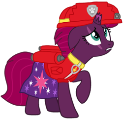Size: 1078x1049 | Tagged: safe, artist:徐詩珮, fizzlepop berrytwist, tempest shadow, pony, unicorn, series:sprglitemplight diary, series:sprglitemplight life jacket days, series:springshadowdrops diary, series:springshadowdrops life jacket days, alternate universe, clothes, cute, marshall (paw patrol), paw patrol, simple background, transparent background