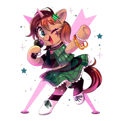 Size: 800x800 | Tagged: safe, artist:ipun, oc, oc only, oc:hera amore, oc:heroic armour, pony, unicorn, clothes, cute, dress, female, mare, microphone, rule 63, rule63betes, simple background, solo, transparent background