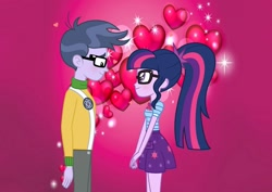 Size: 1280x907 | Tagged: safe, artist:supersamyoshi, microchips, sci-twi, twilight sparkle, equestria girls, clothes, female, glasses, heart, love, male, microlight, shipping, skirt, straight