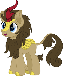 Size: 1259x1500 | Tagged: safe, artist:cloudyglow, doctor whooves, time turner, kirin, cute, doctorbetes, kirin-ified, male, movie accurate, open mouth, simple background, smiling, solo, species swap, stallion, transparent background