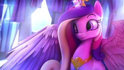Size: 3840x2160 | Tagged: safe, artist:lunar57, princess cadance, alicorn, pony, 3d, beautiful, bust, crystal, crystal empire, cute, cutedance, female, head tilt, horn, looking at something, mare, portrait, pretty, raised hoof, smiling, solo, source filmmaker, spread wings, wallpaper, wings