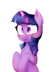 Size: 1186x1735 | Tagged: safe, artist:ravensunart, twilight sparkle, pony, unicorn, cute, ear fluff, female, glasses, mare, silly, silly pony, simple background, solo, tongue out, twiabetes, white background