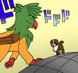 Size: 5460x5154 | Tagged: safe, artist:summerium, oc, oc only, oc:kalimu, oc:nora, dog, griffon, face to face, jojo's bizarre adventure, menacing, oh you're approaching me, puppy