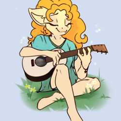 Size: 2000x2000 | Tagged: safe, artist:urpone, pear butter, anthro, earth pony, unguligrade anthro, the perfect pear, doodle, eyes closed, female, guitar, mare, musical instrument, simple background, solo