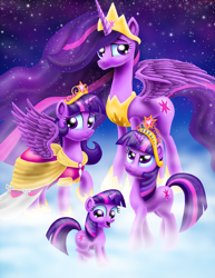Size: 2550x3300 | Tagged: safe, artist:jac59col, twilight sparkle, alicorn, pony, unicorn, the last problem, age progression, big crown thingy, big crown thingy 2.0, clothes, coronation dress, crown, dress, element of magic, female, filly, filly twilight sparkle, high res, hoof shoes, jewelry, mare, mist, multeity, peytral, princess twilight 2.0, regalia, self ponidox, sky, smiling, sparkle sparkle sparkle, spread wings, stars, time paradox, twilight sparkle (alicorn), unicorn twilight, wings, younger