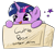 Size: 3032x2784 | Tagged: safe, artist:sny, twilight sparkle, pony, :p, box, cute, ear fluff, peeking, pony in a box, silly, silly pony, simple background, smiling, solo, stars, text, tongue out, transparent background, twiabetes, weapons-grade cute