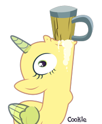 Size: 1492x1800 | Tagged: safe, artist:lazuli, oc, oc only, alicorn, pony, alcohol, alicorn oc, base, beer, drinking, eyelashes, gulp, horn, mouth hold, mug, simple background, solo, throat bulge, transparent background, wings