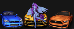 Size: 3000x1184   Tagged: safe, artist:pony-way, oc, alicorn, anthro, unguligrade anthro, alicorn oc, car, clothes, female, ford mustang, horn, lamborghini, nissan skyline, solo, wings